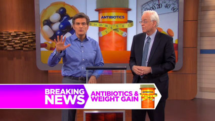Blaser appearing on the Dr. Oz show to talk about antibiotics and weight gain. (Source)
